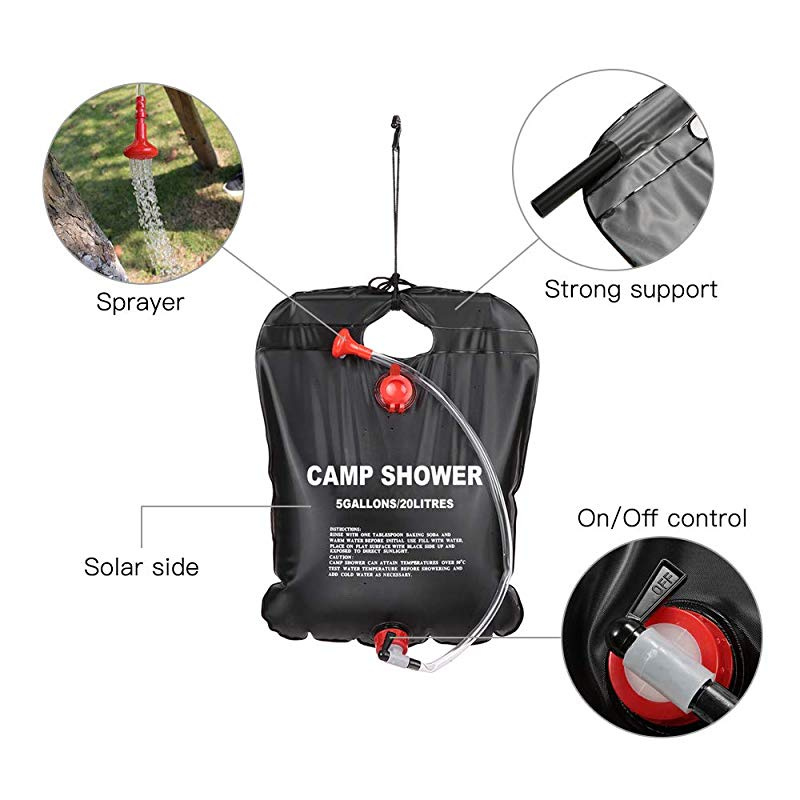 20 L AUVSTAR Solar Camp Shower Bag,Outdoor Water Storage Bag, Solar Heated Outdoor Shower Camping Water Bathing Bag Outdoor Travel Hiking Climbing Portable