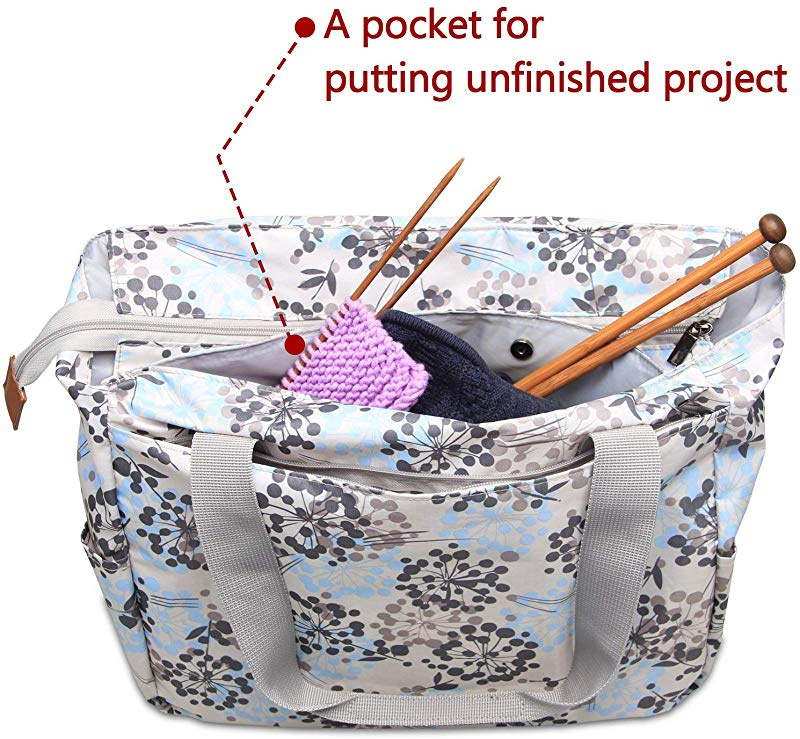 Yarn Storage Tote for Yarn and Unfinished Proje... Teamoy Knitting Shoulder Bag