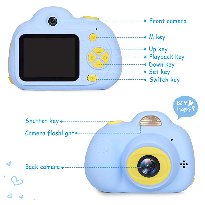 """Kids Camera Gifts for Boys 1080P HD,Mini Rechargeable Shockproof Digital Selfie Camera Childrens Cameras Camcorder for 3-9 Year Old Kids Gifts Waterproof 2.0/"""" LCD Screen with 16GB SD Card BLUE"""