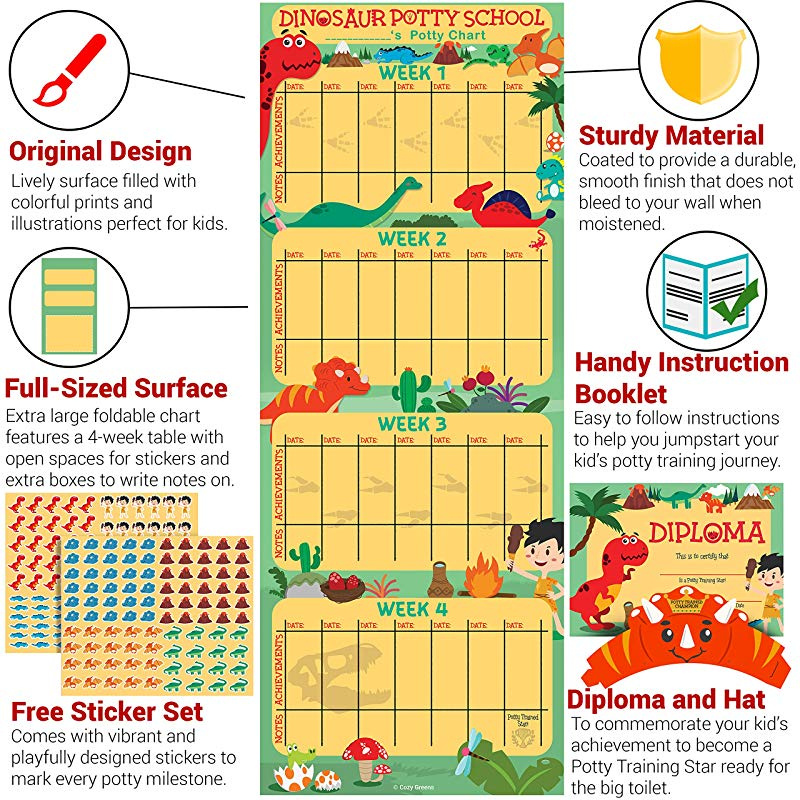 Sticker Chart for Boys and Girls Certificate Potty Training Chart for Toddlers 4 Week Reward Chart Dinosaur Design with Kids Cartoon Instruction Booklet and More