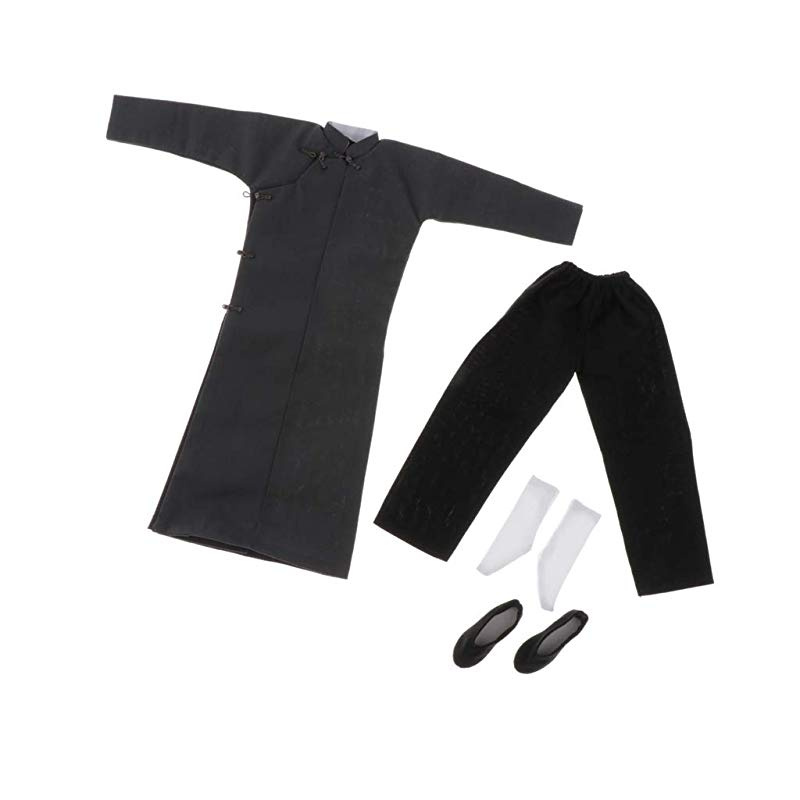 1//6 Bruce Lee Gray Color Chinese Style Kung Fu Robe Costume Set SHIP FROM USA