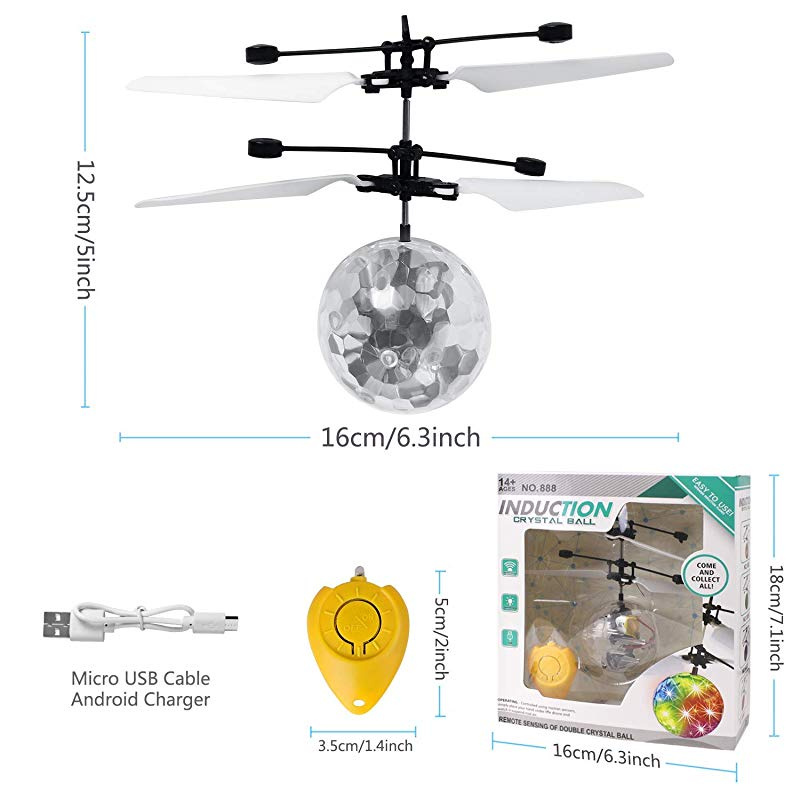JEMEX Flying Ball Toys RC Toy for Kids Boys Girls Gifts Rechargeable Light Up Ball Drone Infrared Induction Helicopter with Remote Controller for Indoor and Outdoor Games