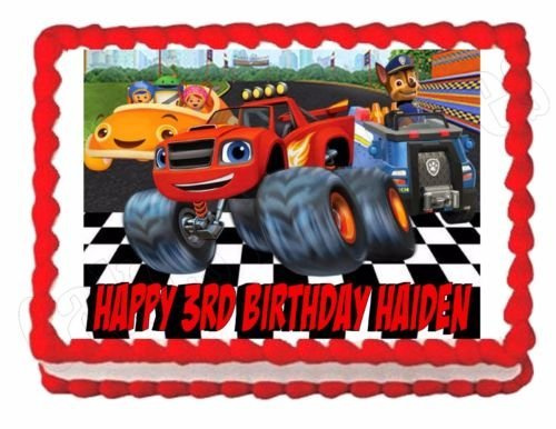 Outstanding Blaze Paw Patrol Team Umizoomi Edible Cake Topper Decoration Personalised Birthday Cards Epsylily Jamesorg