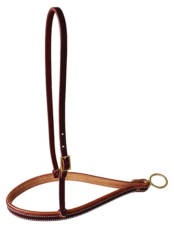 CHALLENGER Horse Amish Horse Western Tack Amish USA Harness Leather Soft Padded Noseband Brass 975H916.