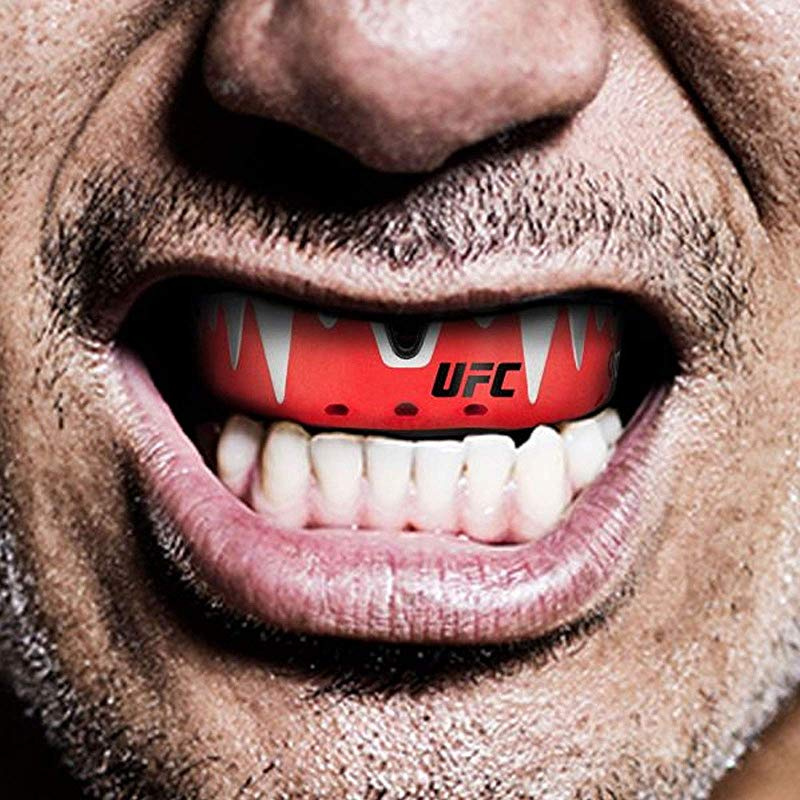Opro UFC Platinum Fangz Mouth Guard Black Metal//Red Adult