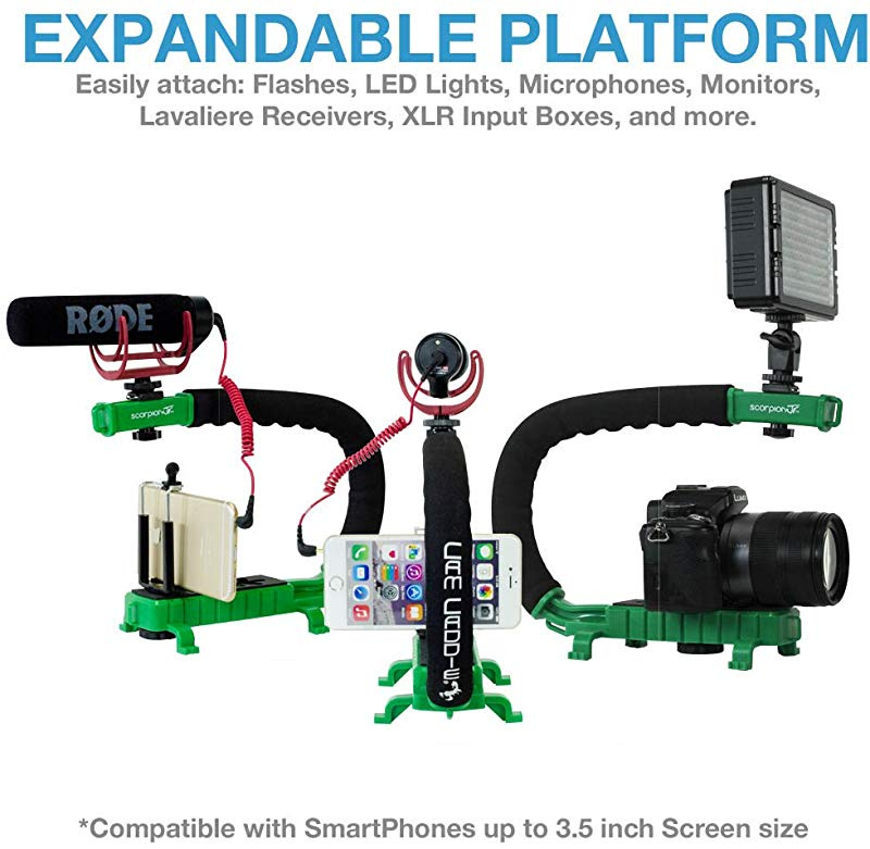 Includes Professional Handheld U//C-Shaped Grip with Integrated Accessory Shoe Mount for Microphone or LED Video Light Cam Caddie Scorpion Jr Stabilizing Camera Handle for DSLR and GoPro Action Cameras GoPro Adapters and 1//4-20 Threaded Mo Smartphone