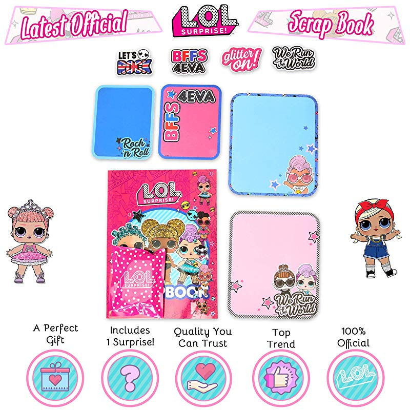 Accessories And Surprise Gift Surprise LOL Doll Scrapbook Childrens Craft Kits With Stickers Surprise Scrapbooking Craft Activity For Kids Bumper Set Includes Scrap Book For Girls L.O.L