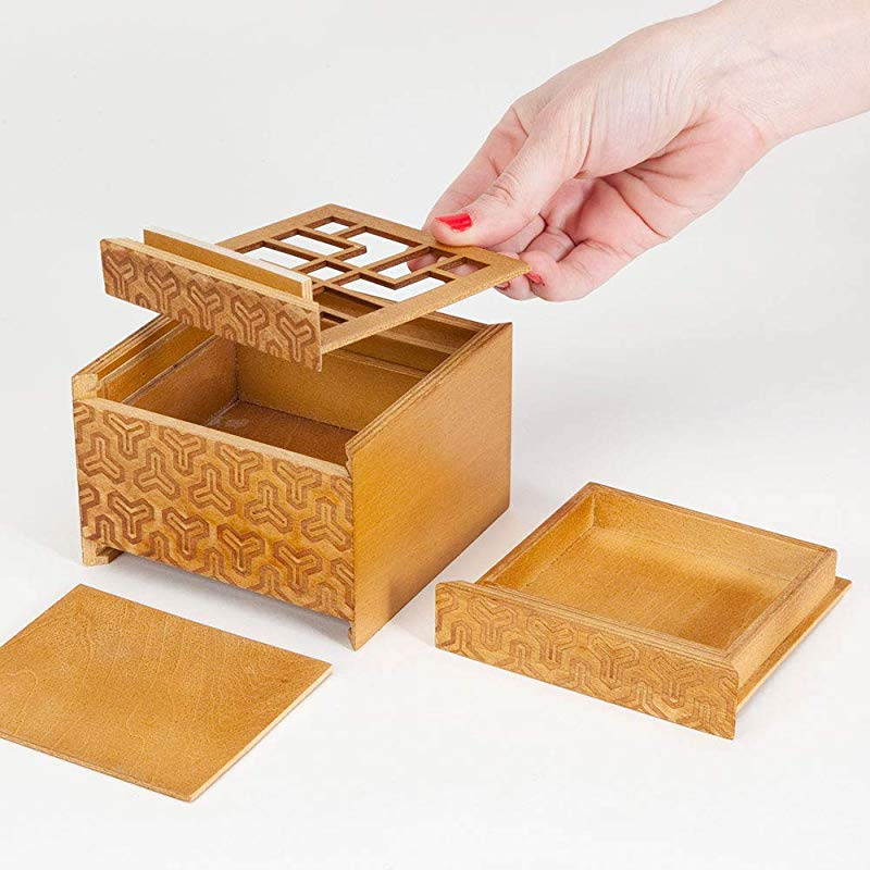 Wooden Secret Compartment Brain Game for Adults Bits and Pieces The Kings Fortune Brainteaser Puzzle Box