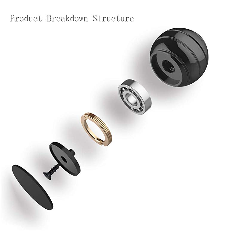 55MM Kinetic Desk Toy Ball Anti Anxiety Optical Illusion Fidget Ball for Men Women Kids Black Big Size Adult Stress Relief Spinning Toy Ball
