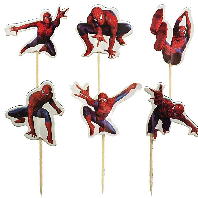 Miraculous 24Pcs The Spiderman Cupcake Toppers For Birthday Party Cake Funny Birthday Cards Online Unhofree Goldxyz