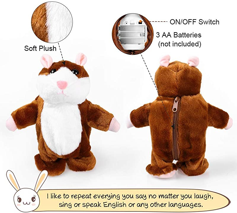 Electronic Hamster Mouse Repeats What You Say Interactive Toys for Boy and Girl Christmas Gifts DeXop Talking Hamster Toy Plush Toys for 2 Year Old girls Hamster Toys